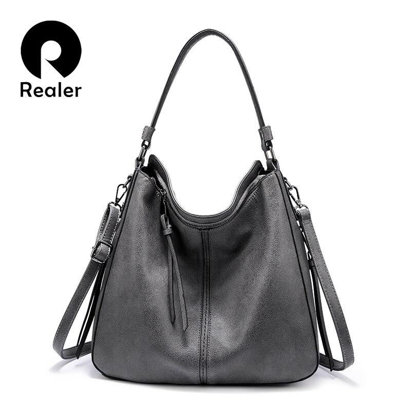 REALER Women Handbags Classic Shoulder Crossbody Bag Female Casual Large Capacity Totes High Quality Ladies Hobos Messenger Bags