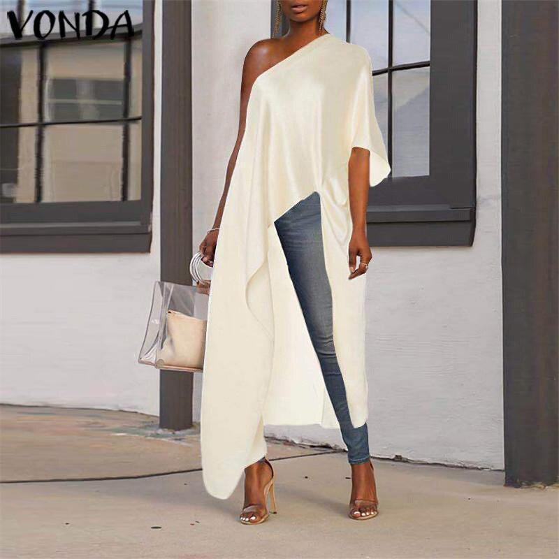 VONDA Long Blouse Asymmetrical Tunic Women Sexy Off One Shoulder Party Shirts 2019 Holiday Beach Tops Plus Size Blusas Femininas