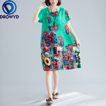 4-color Print Midi Dress for Women Summer New Plus Size Boho Short-sleeved Pocket O-neck Loose Dress Casual Party Dress Vestidos 5xl plus size women elegant midi dress loose 2019 summer v neck boho dress casual button pocket beach dress vestidos