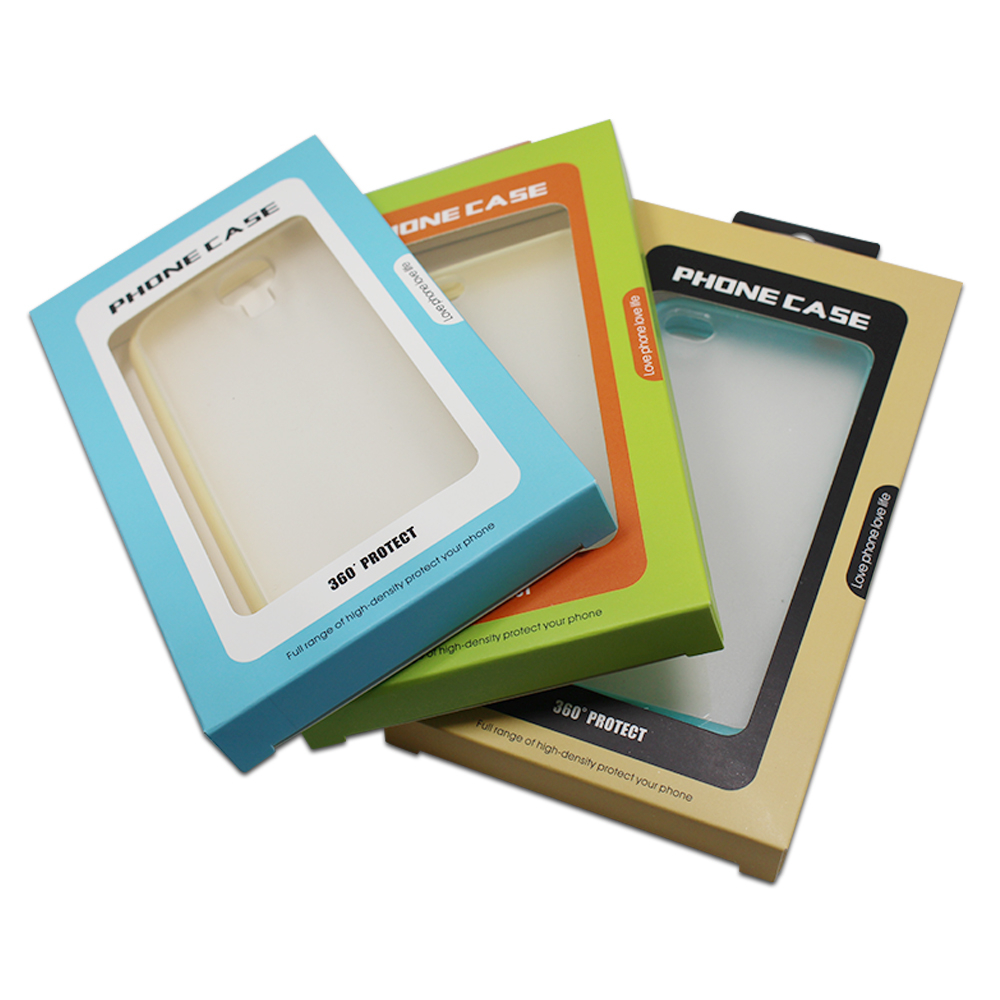 Dhl 250 pçs/lote 9*16*1.5cm 2 projetos caixa de papelão papel pacote para celular caso do telefone móvel capa embalagem com janela pendurar buraco