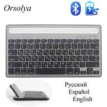 لوحة مفاتيح صغيرة بلوتوث الروسية/الإسبانية مع حامل هاتف قابلة للشحن لوحة مفاتيح لاسلكية مزدوجة القناة للجهاز اللوحي/الكمبيوتر المحمول/الهاتف