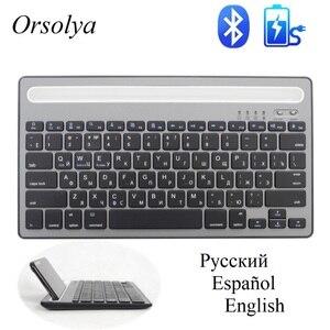 Image 1 - MIni clavier Bluetooth russe/espagnol avec support de téléphone clavier double canal sans fil Rechargeable pour tablette/ordinateur portable/téléphone