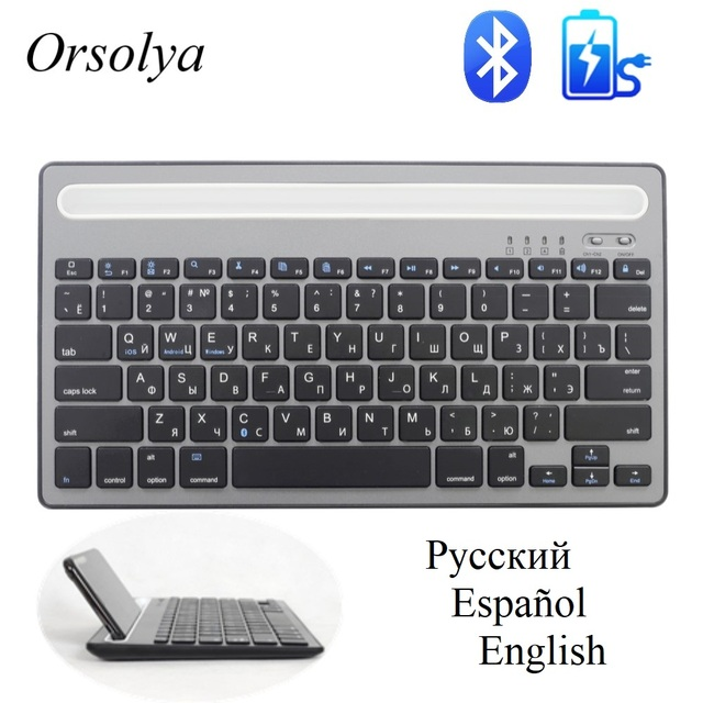 MIni clavier Bluetooth russe/espagnol avec support de téléphone clavier double canal sans fil Rechargeable pour tablette/ordinateur portable/téléphone