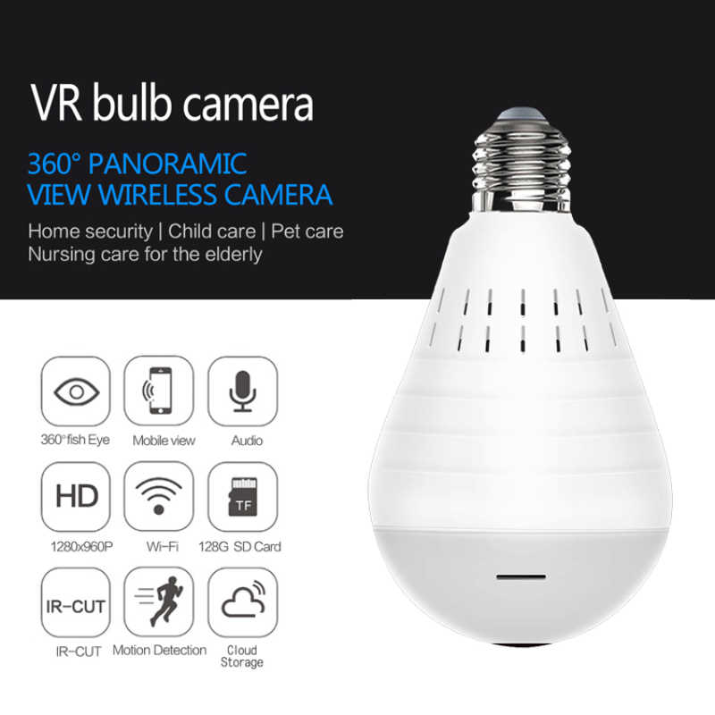 1080P Wifi Panoramic Camera Bulb 360 Degree Fisheye Wireless Home Security Video Surveillance Night Version Two Way Audio