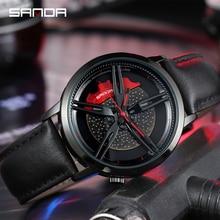 SANDA haut flambant neuf hommes montre bracelet mode roue série cadran bracelet en cuir étanche cadeau montre Premium Quartz mouvement 1040