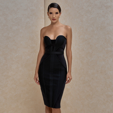 Ocstrade Suede Strapless Bandage Dress 2020 New Arrival Summer Women Sexy Black Bandage Dress Bodycon Midi Club Party Dresses