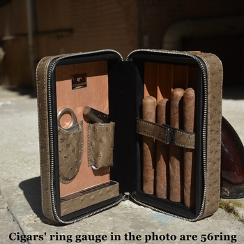 Grey Ostrich Grain Travel Cigar Humidor COHIBA Fit Cuba Habanos 4 Cigars Max 57ring With Cigar Jet Lighter Cigar Cutter