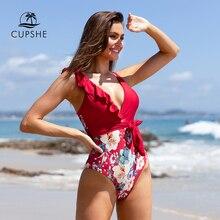 CUPSHE Rot Floral Rüschen Tiefer V ausschnitt Einteiliges Badeanzug Sexy Padded Frauen Monokini 2020 Mädchen Strand Badeanzug Bademode