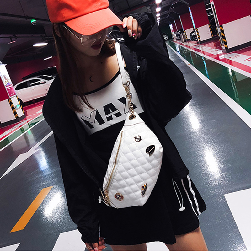 High Quality Women's Waist Bag Navy Badge Belt Bags Banana Crossbody Chest Bag Bag Female Fanny Pack Diamond Lattice Hip Purse
