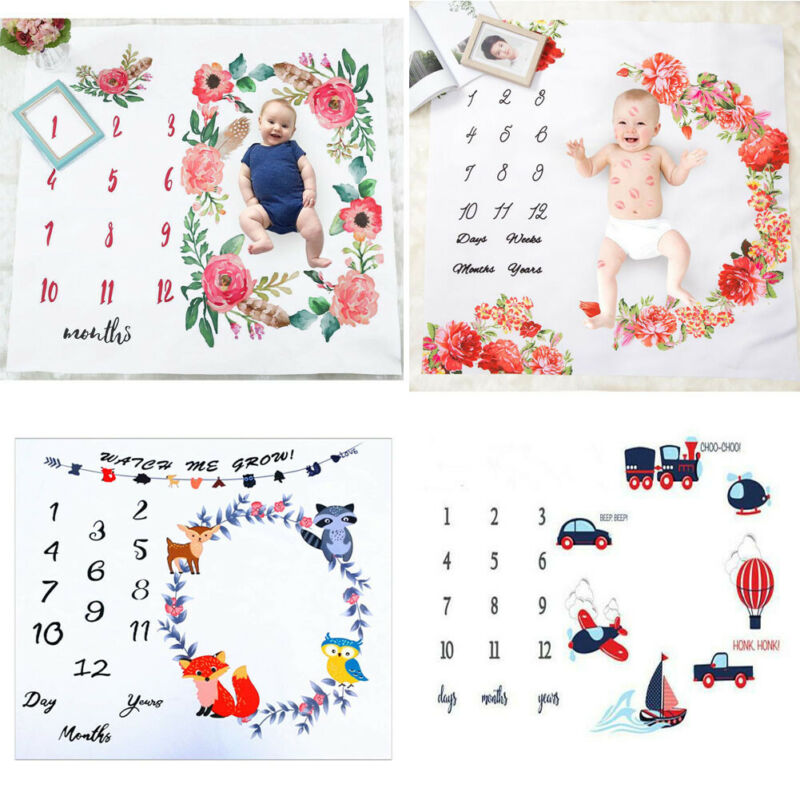 Newborn Infants Milestone Baby Blanket Mat Kids Photography Monthly Growth UK