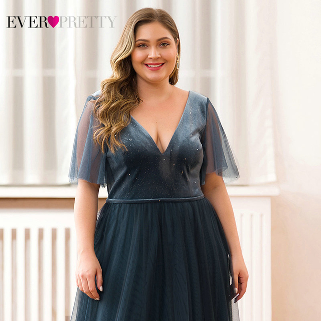 Plus Size Sparkle Velour Evening Dresses Ever Pretty EP00889DN Deep V-Neck Short Sleeve Tulle Evening Gowns Robes Soiree 2019 3