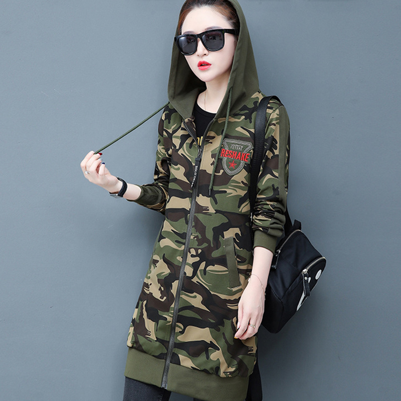 Camouflage Long Coat Women Velvet Casual Long Sleeve Zipper Women Jacket Autumn Women Clothes 2020 Mujeres Abrigos