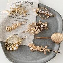 M MISM perlas Concha huecos aleación pinzas para el cabello para mujer niñas estilo coreano Modish accesorios para el cabello horquillas huecas