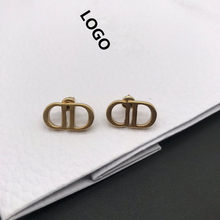 2021 European and American new style high-end ladies retro letter D1:1 earrings original popular holiday gifts free shipping