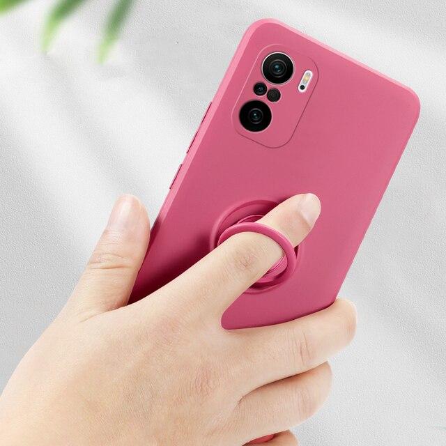 LOVECOM Original Soft Liquid Silicone Case For Xiaomi Redmi Note 10 9 9S Pro Ring Holder Strap Cover For Mi Poco X3 10T Lite 4