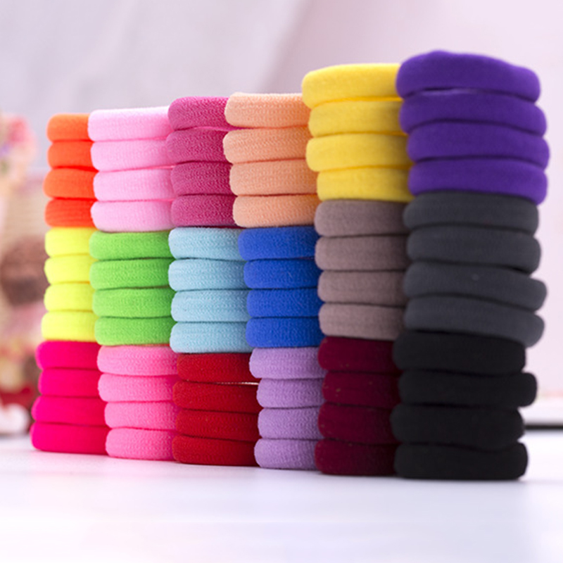 Wholesale 100 Pcs Children Rubber Hair Band Colorful Elastics Hairband Clothing Accessories For Girls Ponytail Gum Hair Holder