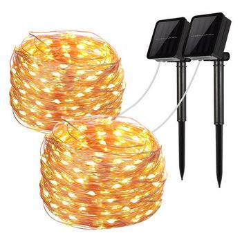 LED zewnętrzna lampa solarna łańcuchy świetlne 100 200 LEDs Fairy Holiday Christmas girlanda na przyjęcie słoneczne światło ogrodowe wodoodporne 5m 10m 20m tanie i dobre opinie LBTFA CN (pochodzenie) None Z tworzywa sztucznego Ni-MH Żarówki LED Brak 12 v 30 m WHITE ciepły biały Colorful 151-200 głowic
