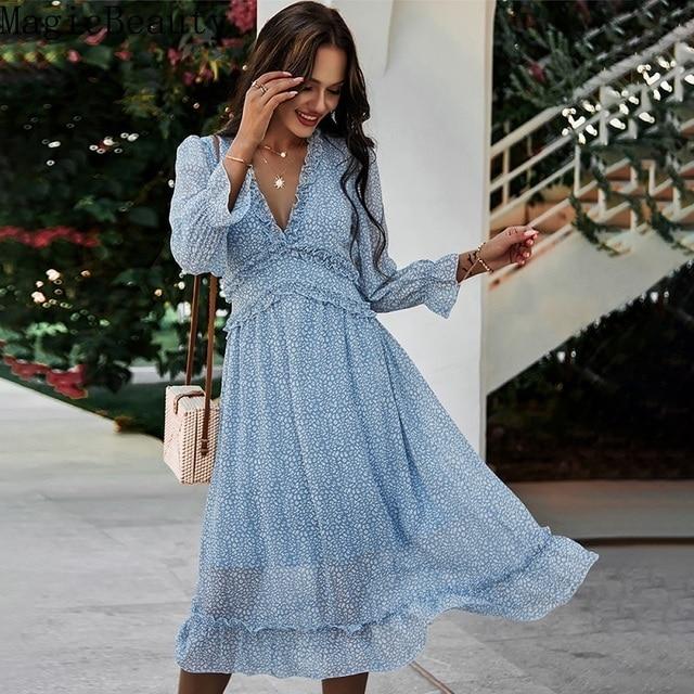 Women V Neck Print Dress Casual Butterfly Sleeve High Waist Dress Ladies Summer Chiffon Dress 1