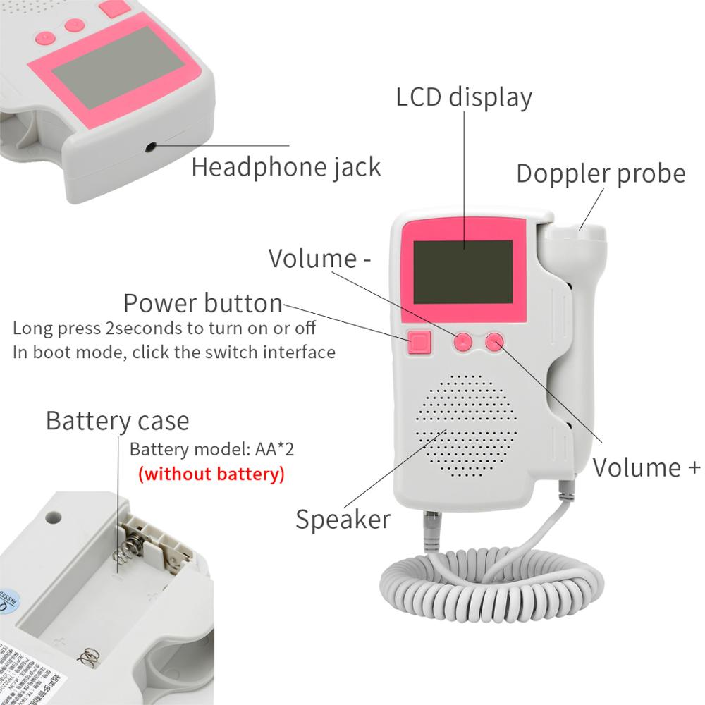 Atualizado 3.0 mhz doppler fetal monitor de freqüência cardíaca em casa gravidez bebê fetal som detector de freqüência cardíaca display lcd sem radiação 5