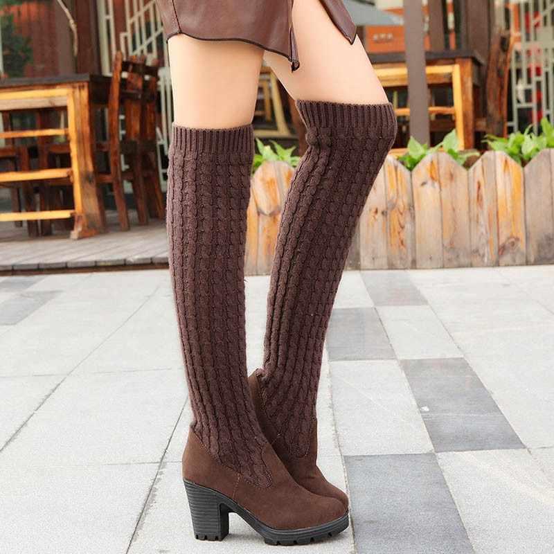 Fashion Knie Hoge Vrouwen Laarzen Elastische Slanke Herfst Winter Warme Lange Dij Hoge Gebreide Laarzen Vrouw Schoenen