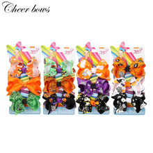 3Pcs/Set 3 Halloween Hair Accessories Children JOJO BOWS Print Ribbon Bows Clip for Girls Hairgrips Party Headwear