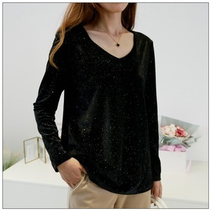 Новинка 2019, Осень-зима, топы размера плюс для женщин, Повседневная Свободная блестящая черная футболка с длинным рукавом и v-образным вырезом, 3XL 4XL 5XL 6XL 7XL 8XL