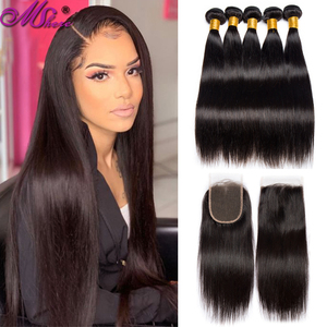 Mshere Straight Bundles With Closure 28 30inch Brazilian Hair Weave Bundles non-Remy Human Hair Extension With 4x4 Lace Closure