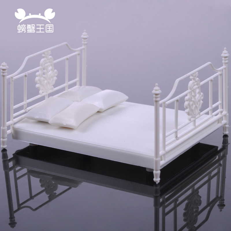 2pcs 1/20 1/25 1/30 Dollhouse Double Bed Model Mini Furniture Miniature White Accessories Bedroom