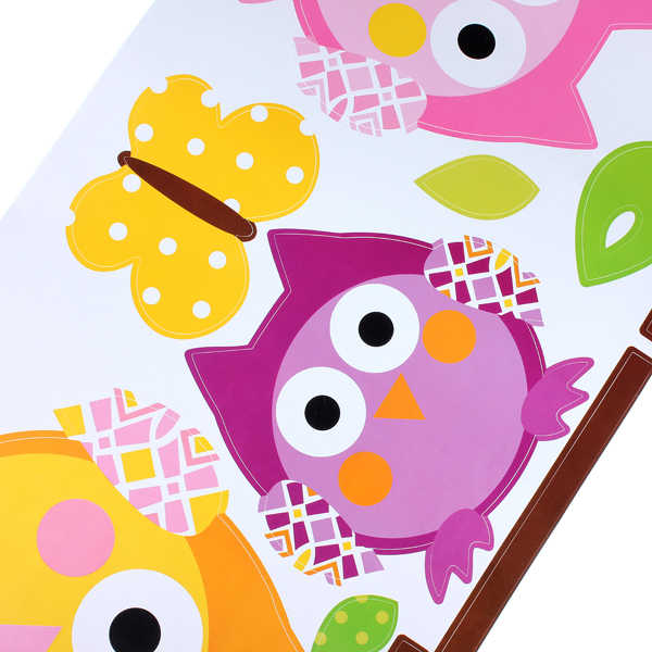 1X ארבעה ינשוף פרפר עץ נשלף ויניל מדבקות קיר מדבקת בית תפאורה קיד חדר PVC קיר מדבקת דקור