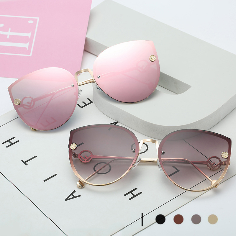 2020 Brand Cat Eye Sunglasses Women Design Metal Frame Mirror Sun Glasses Vintage Rimless Gradient Glasses For Female