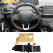 Для peugeot 208 peugeot 2008 2013 кожаные Прошитые вручную Чехлы рулевого колеса автомобиля для автомобиля