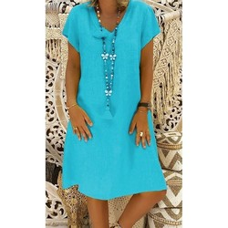 Large Plus Size !!best Sale 2020 Women's Solid Boho V-neck Dress 3/4 Sleeve Casual Pocket Button Dress Vestido #cjh