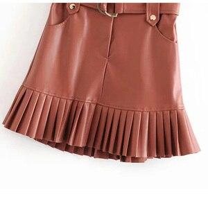 Image 4 - BONJEAN נשים של עור מפוצל קפלים חצאית עם חגורה אופנה גבוהה מותן Slim חורף Za חצאיות נשים נשי Falda