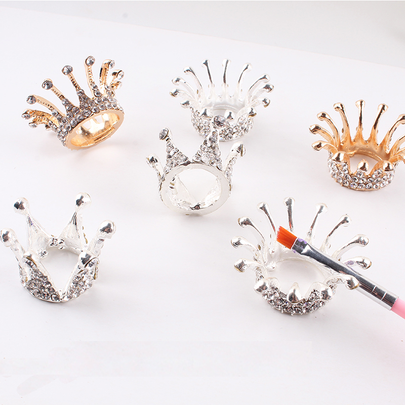 1pc Three-dimensional Embossed Glass Crown Nail Brush Displayer Stand Acrylic UV Gel Painting Pen Displayer Holder Manicure CE34
