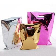 Sac cadeau en plastique, sac en plastique brillant pour cadeau, emballage de vêtements pour centre commercial et épicerie, sacs en aluminium Rose or argent, lot de 50 pièces