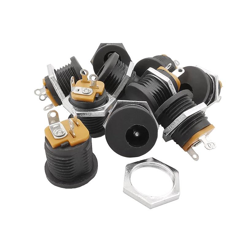 10Pcs DC022 5.5-2.1mm DC Connectors Round Hole Screw Nut Interface Panel Mounting DC-022 5.5x2.1mm DC Power Socket Plug Jack