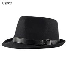 USPOP 2019 New fashion men hats British vintage wool fedoras male jazz hat unisex winter thick warm