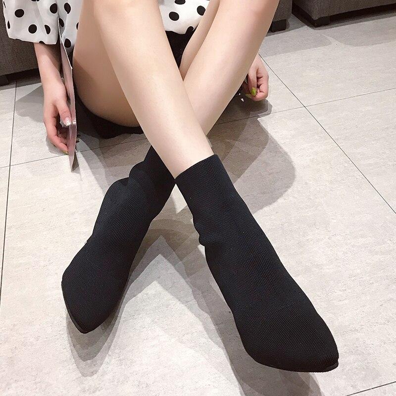 EOEODOIT Shoes Women Sock Boots Stiletto Pointed-Toe High-Heel Fashion Autumn Slip-On