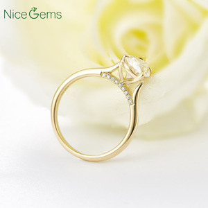 Image 4 - 14K Yellow Gold 1.5 Carat Pear Cut ring 4 prong set D Color Moissanite Engagement ring For  Wedding anniversary gift