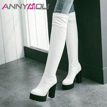 купить ANNYMOLI Winter Over the Knee Boots Women Slim Stretch Platform Thick Heel Thigh High Boots Sexy Extreme High Heel Shoes Female дешево