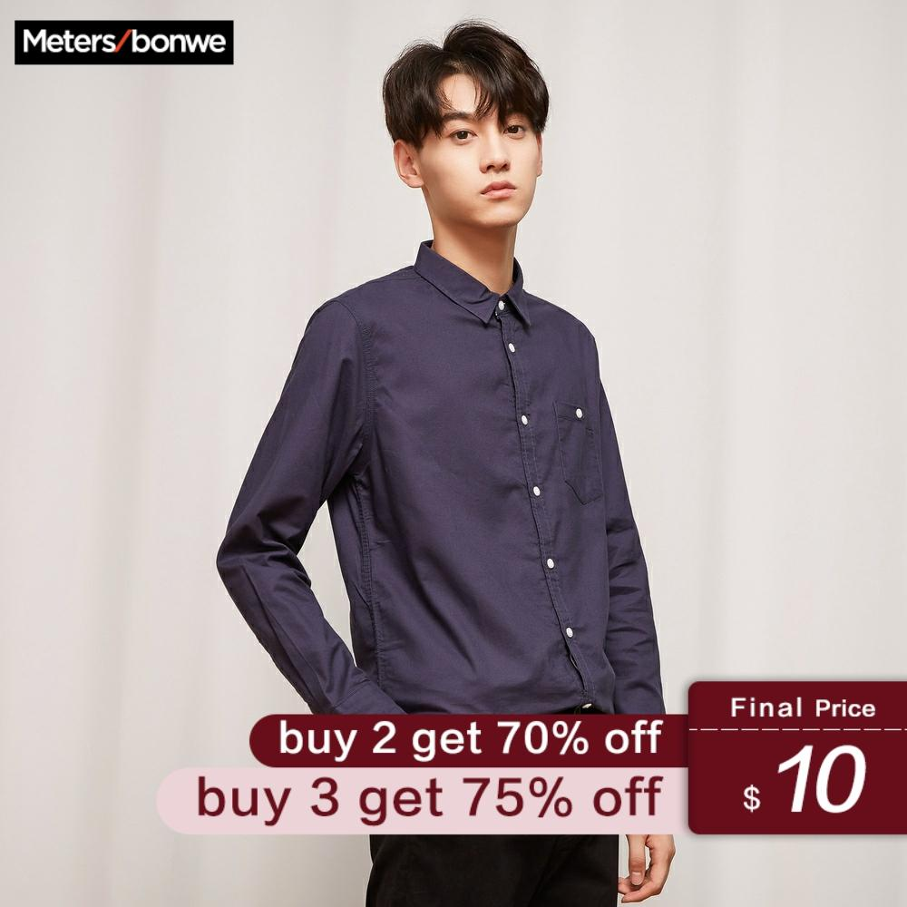 Metersbonwe Men Shirt Long Sleeve Solid Color New Spring Autumn Literary City Style Simple Clean Shirt