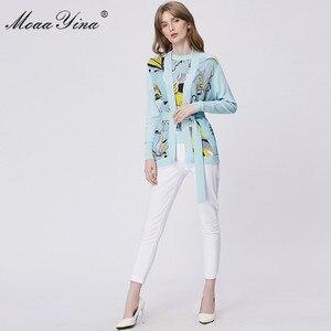 Image 5 - MoaaYina แฟชั่นฤดูใบไม้ผลิแขนยาวถักเสื้อผู้หญิง Elegant พิมพ์ลูกไม้ขึ้น Cardigans ผ้าไหม Patchwork ขนสัตว์เสื้อ