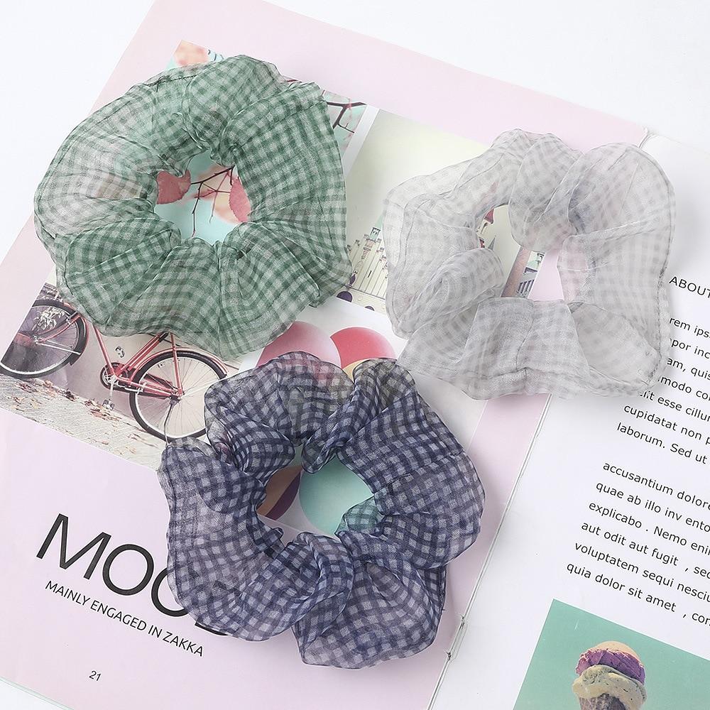 New Arrival Scrunchies Transparent Organza Multicolor Lattice Hair Scrunchies Girls Ponytail Holders Fashion Hair Accessories