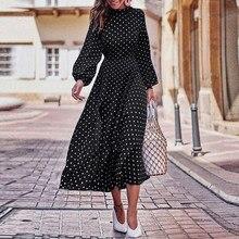 2021 Best Sellers Women's Casual Polka Dot Print Lantern Sleeve Dress Elegant Vintage Dress Plus Size Crew Neck Long Sleeve