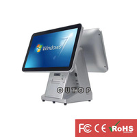 high quality metal material dual screen capacitance touch cash register machine with 80mm auto cutting printer POS system