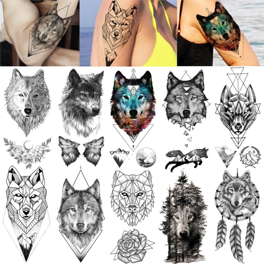 Cool Adults Temporary Tattoos Sticker For Girls Geometric Black Wolf Face Waterproof Tatoo Paste For Women Man Tattoos Body Art