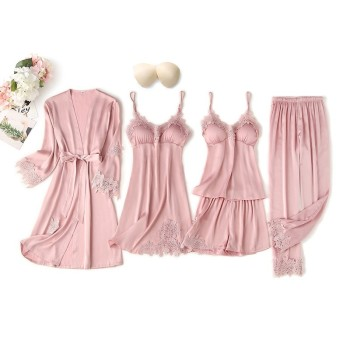 5PCS Pajamas Suit Women Intimate Lingerie Satin Sleepwear Kimono Robe Gown Casual Bride Bridesmaid Wedding Gift Sexy Nightgown - discount item  30% OFF Women's Sleep & Lounge
