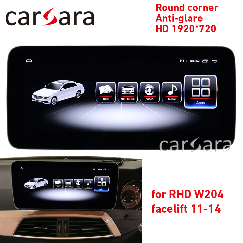 <font><b>Android</b></font> Widescreen C class <font><b>W204</b></font> facelift <font><b>RHD</b></font> round corner monitor C180 anti-glare display C300 4G RAM 1920 PAD C63 <font><b>android</b></font> NAVI image