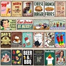 Dad's Barbecue  Decorative Signs Beer BBQ  Plaque Metal Vintage Wall Bar Home Art Retro Restaurant Decor 30X20CM DU-6034A