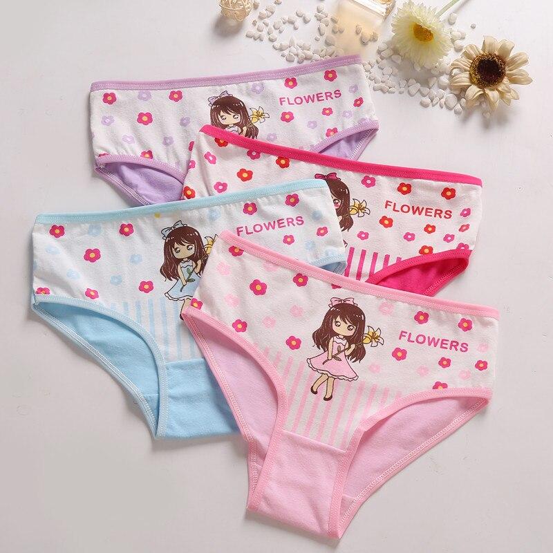 Cotton Panties Underwear Briefs Cat Girls Cartoon Children Lovely Soft for Breathable
